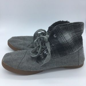 Toms Plaid And Grey Boots - women's size 8.5